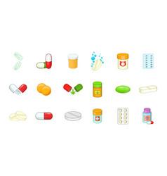 pills icon set cartoon style vector image