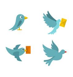 postal bird icon set flat style vector image