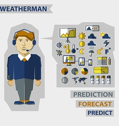 Profession of people Flat infographic Weatherman vector
