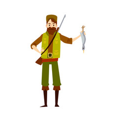 Proud hunter with dead duck isolated hunting man vector