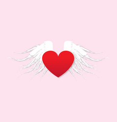 red heart with angel wings white paper style vector image