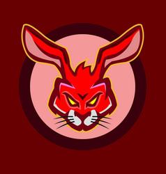 red rabbit mascot esport logo vector image