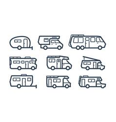 Rv cars recreational vehicles camper vans icons vector