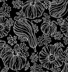 Seamless chalk pumpkin pattern vector