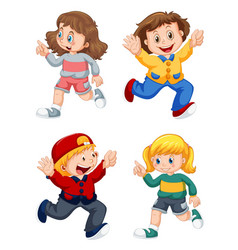 set happy kids vector image