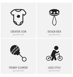 set of 4 editable baby icons includes symbols vector image