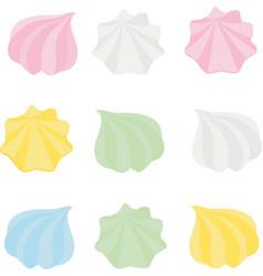 set of different cartoon varicolored meringues vector image