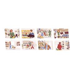 Set people choosing food in grocery shop men vector