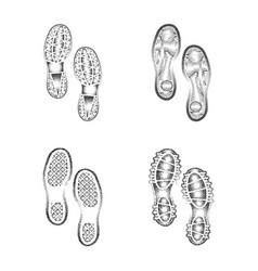 Shoes print set vector