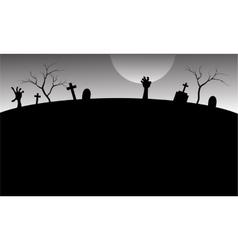 Silhouette of graveyard in Halloween vector