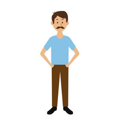 smiling man in casual clothes with hands in vector image