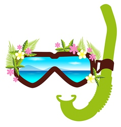 Snorkel with flowers summer concept vector