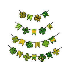St patricks day bunting with patterned clover vector