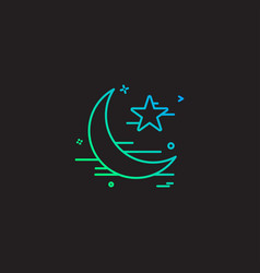 star and moon icon design vector image