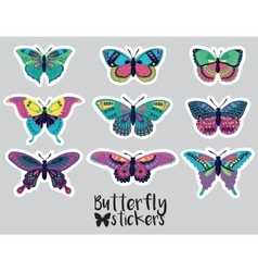 sticker set butterflies decorative silhouettes vector image