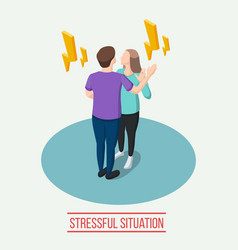 stressful situation isometric composition vector image