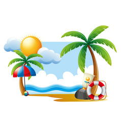 summer scene with sun and ocean vector image