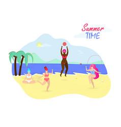 Summer time activity on beach body positive icon vector