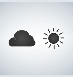 sun and cloud icon isolated on moderb background vector image