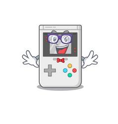 Super funny geek handheld game scroll cartoon vector