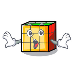 Surprised rubik cube mascot cartoon vector