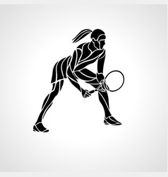 Tennis player female stylized abstract vector