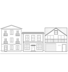 Three houses of different heights vector image
