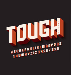 Tough bold display font design alphabet vector