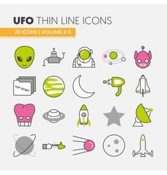 UFO and Space Thin Line Icons Set vector