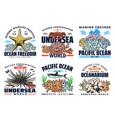 Underwater sea and ocean animal icons vector