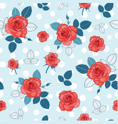 Vintage blue red and white roses and vector