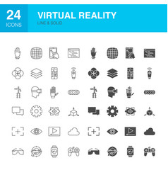 virtual reality line web glyph icons vector image