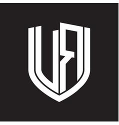 vr logo monogram with emblem shield design vector image
