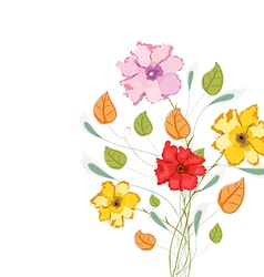 Watercolor colorful flowers vector image