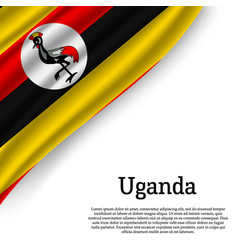 Waving flag of uganda vector
