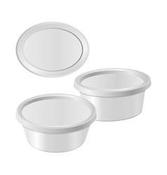 White oval plastic box for your design and logo vector