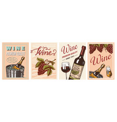 wine posters or vineyard banners sparkling vector image