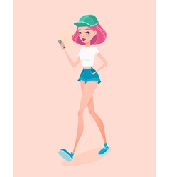 Young hipster girl going down the street holding vector image