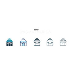 Yurt icon in different style two colored and vector