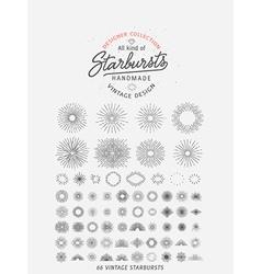 Collection of trendy hand drawn retro sunburst bu vector