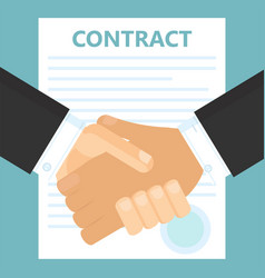 conclusion of a contract two men shake hands vector image