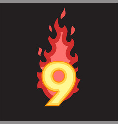 flaming number nine vector image