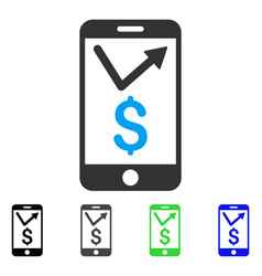 mobile sales report flat icon vector image