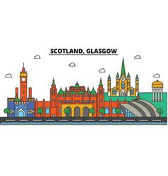 scotland glasgow city skyline architecture vector image