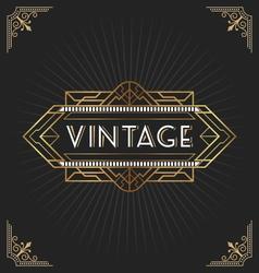 Vintage art deco frame for decorative design vector