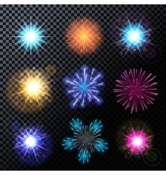 Fireworks Salute Set on a vector image vector image