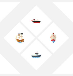 flat icon vessel set of transport delivery vector image
