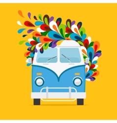 Hippie blue van icon vector image