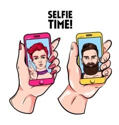 Selfie Time Sketch Set vector image vector image