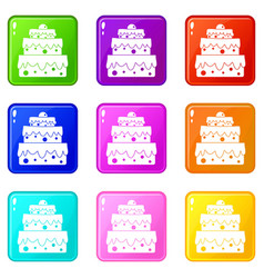 big cake icons 9 set vector image vector image